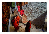 Monks Leaving Temple - Bhutan